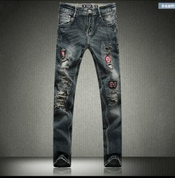 Wholesale Spring Male Outfits - In the spring and autumn outfit men leisure brand jeans do old worn out joker han edition straight beggar male feet pants pants