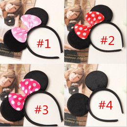 Wholesale Black Roses Headband - 150pcs Lovely Girls Bows Mouse Ears kids Hair Accessories Party Headband kid birthday red rose black and pink kids Gift hair sticks