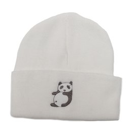 Wholesale Panda Knitted Hat - Women Cute Panda Embroidered Daily Warm Chunky Beanie Soft Acrylic Knitted Cuff Beanie Skull Cap Winter Outdoor Ski Hat Unisex