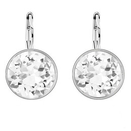 Wholesale Swarovski Earrings White Gold - Drop Earrings Fashion Jewelry Crystal from Swarovski Elements 2017 New Dangle Earrings White Gold Plated Bijouterie 22467