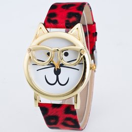 Wholesale Copper Dial - New Arrival Woman Copper Case Bracelet Watch Cute Cat With Glasses Round Dial Leather Strap Watch Free Shipping Via DHL