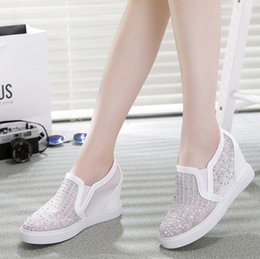 Wholesale Career Dresses For Women - 2016 Women Casual Shoes Wedge Boots For Women Breathable Women High Top Heel Platform Rhinestone Shoes Woman Black White NX79