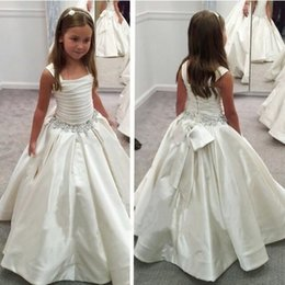 Wholesale Kids Satin Caps - 2018 New Princess Flower Girls Dresses Pleats A Line Crystal Satin Bow First Communion Kids Girls Pageant Party Wear Gowns Cheap Custom