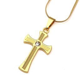 Wholesale Jewelry Design Cross For Man - Mens Cross Necklaces 18k Gold Plated Fashion Studded Crystal Design Hip Hop Jewelry Long 45CM Chains Punk Rock Rap Men Necklaces For Sale