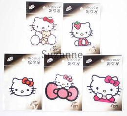 Wholesale t shirt heat transfers - Designs 100pcs Big On Heat Transfer DIY Hello Kitty Heart Sticker Hot Chart T-shirt Fabric