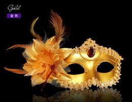 Wholesale Mardi Gras Side Face Masks - Women Feather Half Faces Eye Masks Venice Masks on Side Masquerade Mardi Gras Venetian Halloween Masks Dancing Party Masks