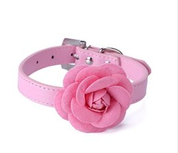 Wholesale Padded Leather Neck Collar - 5 color Flower Cat Dog Collar Necklace PU Leather Dog Pet Puppy Collars Pink Red Purple Blue Rose Neck Strap Free Shipping G1014