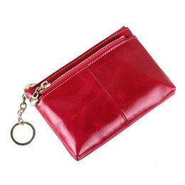 Wholesale Photo Birthday Cards - Wholesale- red small wallet women mini purse key holder genuine leather womens wallets and purses christmas birthday gifts for kids bag