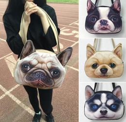 Wholesale Shoulder Cat Dog - 3D Cute Cat Dog Face Shoulder Bag Animal Pattern Handbag Shopping Purse 3D Cat Dog Face Tote Handbag LJJK808