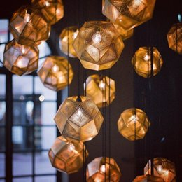 Wholesale Tom Dixon Ceiling Pendant - Tom Dixon Etch Pendant Light Vintage Ceiling Lamp Brass Ball Pendant Light Gold Silver Modern Bar Lamp 25cm Chandeliers Pendent Lamps