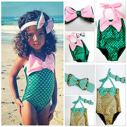 Wholesale Swimming Costume Girl - free ups dhl ship 2016 New Children Girls Little Mermaid Bikini Suit Swimming Costume Swimsuit Swimwear with cute headband 2-7years