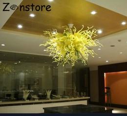 Lustre de vidro amarelo on-line-Venda quente de Alta Teto Decoração Lustres De Vidro Amarelo Feito À Mão Blown Glass Art Decoração de Iluminação para o Hotel Lobby