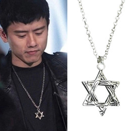 Wholesale David Star Pendant Necklaces - Statement Hexagram Pendants Necklaces for Men Magen David Star Pendant Chain Vintage Silver Plated Women Israel Jewelry Unisex