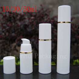 Wholesale Gold Cosmetics Skin Care - Empty White Airless Lotion Cream Pump Plastic Container ,Travel Cosmetic Skin Care Cosmetic Bottle Airless Dispenser Gold Strip
