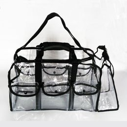 Wholesale Small Belt Bags - transparent clear makeup bag with belt handle zipper small external bags storage organizer, PVC plastic makeup pouch with shoulder strap