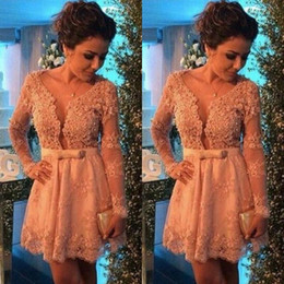 lace deep v neck champagne gown Coupons - 2019 New Lace Applique Long Sleeves Homecoming Dresses Beaded Deep V neck Bow Sash Sexy Cocktail Dress A-line Prom Party Gowns