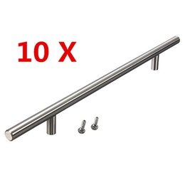 Wholesale Pull Bar Door - Lowest Price 10pcs 14inch Stainless Steel Drawer Door Cabinet T Bar Handle Pull Knob Excellent Quality