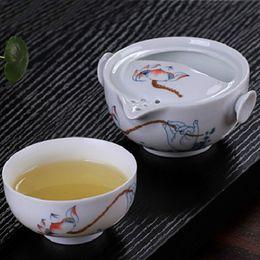 Wholesale Wholesale Gaiwan - Wholesale-Ceramic travel office Tea set Include 1 Pot 1 CupHigh quality elegant gaiwan,Beautiful and easy teapot kettle.