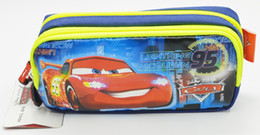 Wholesale Wholesale Zip Pencil Bags - Wholesale-Free Shipping Double Zip Cartoon car School Pencil Bag case pouch Children Student Pen Case Stationery Box Girl Gift For Kid