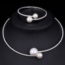 Wholesale Vintage Mexican Silver Bracelets - Imitation pearls Crystal Bridal Jewelry Sets Female Vintage Ethnic Wedding Bijoux Gift Fashion Luxury Choker Necklace Bracelet Set for Women