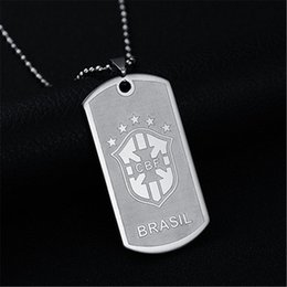 Wholesale Brasil Wholesalers - Never Fade 316L stainless steel necklace BRASIL Football team logo pendant necklace titanium steel plated with 50cm chain necklace wholesale