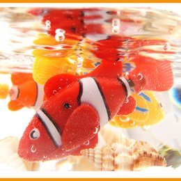 Wholesale Robo Fish Dhl - 7 Styles Robo Fish Water Activated Battery Powered Robofish kids Clownfish Bath Toys children Robotic Fish Electronic pet drop DHL shipping