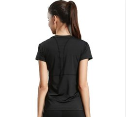 Wholesale Women T Shirt Xxl - Sports T-shirt fitness clothes yoga service running round neck short sleeve speed dry breathable solid color