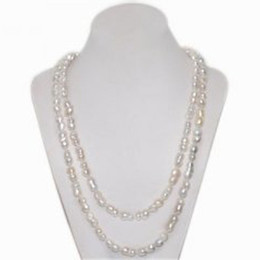 Wholesale Long Natural Pearl Necklace - 48 inches 8-9mm Hand Made Knotted Natural Cultured Freshwater White Peanut Shaped Long Chain Baroque Pearl Necklace