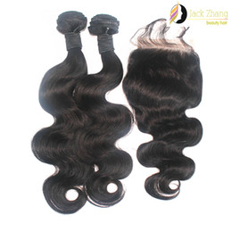 Wholesale 2pcs Bundles Closure - 8A Cuticle 100% Brazilian Hair Bundles 1pc Lace Closure With 2pcs Mixed Hair Weave Natural Color Body Wave Unprocessed Human Hair Extension