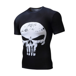 Wholesale Black Milk Clothing L - 2018 new men's compression short sleeved skull t-shirt, outdoor sports quick drying tight clothing, round neck high elastic milk silk