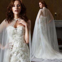 Wholesale Bridal Tulle Shawl - 2018 Hot Sale Luxury White Ivory Jacket shawl Capes Lace Applique Two Layers Tulle Bridal Dress Long cloak