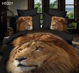 Wholesale Lion Print Comforter Sets - Digital HD 3D animal printing bedding set lion bed covers comforter cover bed sheet pillowcase 4pcs bed set hot sale H5321