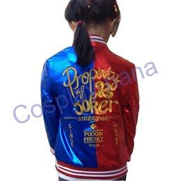 Wholesale Hoddie Men - jacket hoddie 2016 NEW Kid's Suicide Squad Harley Quinn cosplay Costume Outfit Full Set halloween children Christmas gift jacket costumes