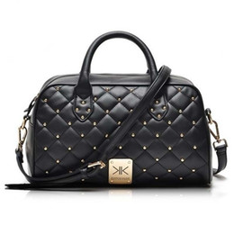bolsas de kardashian Rebajas Al por mayor-Moda bolsos de cuero de alta calidad kim Kardashian bolsa de hombro remache a cuadros famosa marca bolso de las mujeres bolsas de mensajero bolsa de trabajo