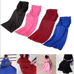 Wholesale Snuggie Blanket Wholesale - Soft Warm Fleece Snuggie Blanket Robe Cloak With Cozy Sleeves Wearable Sleeve Blanket Wearable Blanket 3 Colors OOA2580