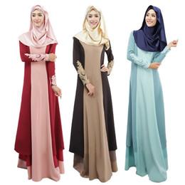 Wholesale Maxi Dress Free Shipping - Women Muslim Dress 3 Colors Vintage Kaftan Abaya Patchwork Slim Long Sleeve Soft Maxi Islamic DK722MZ Free Shipping Dropshipping