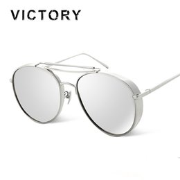 Wholesale Oversized Aviator Sunglasses Men Women Flat Top twin bridge Luxury Women Brand Designer Cool Point UV400 Mirror Sun Glasses Male