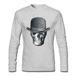 хлопчатобумажная ткань Скидка Мужчины 100% хлопок тройник рубашки круглым воротом череп ковбойские мужские серые/темно-синий с длинным рукавом футболки s-ХХL напечатаны на долго футболку