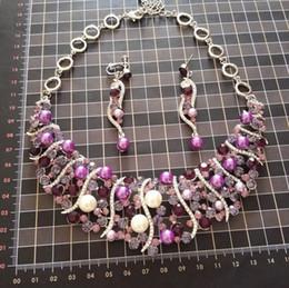 Argentina Collar de perlas pendientes joyería de la boda conjunto NJ-260 rosa / púrpura perlas de imitación clúster bridemaid joyas 2017 Suministro
