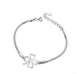 Wholesale Korean Women Sport Set - Hot Korean Fashion Silver Four Leaf Clover Bracelet 925 Sterling Silver Bracelet Women Accessories Srebrna bransoletka
