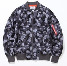 Wholesale Mens College Jackets - mens bomber jacket air force nasa jacket camouflage Air force pilot jackets college ma1 camo baseball jacket coats streetwear