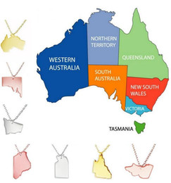 Wholesale Free State Steel - AUSTRALIA State Map Pendant Necklace Stainless Steel Jewelry QUEENSLAND NEW SOUTH WALES NORTHERN TERRITORY VICTORIA Free Shipping