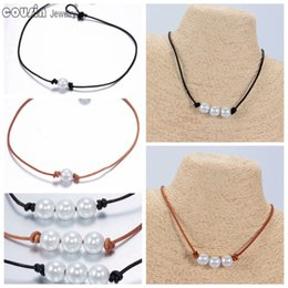 Wholesale Diy Leather Necklaces - New Arrivals Hot sale Pearl Leather Choker Many styles Simulated Pearl Handmade leather Necklace DIY Leather Choker