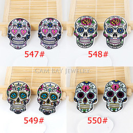 Wholesale Skull Phone Accessories - 40pcs Mixed Cartoon Tattoo Skull Head Resin Flatback Assorted Planar Resin DIY Craft for Mobile Phone Decoration Accessories