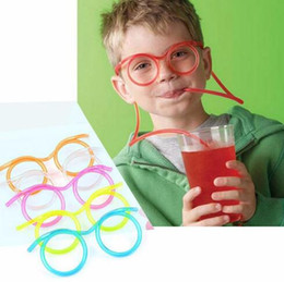 Wholesale Funny Drinks - 5 Colors Funny Soft Glasses Straw Unique Flexible Drinking Tube Kids Party Accessories Colorful Plastic Drinking Straws CCA7138 300pcs