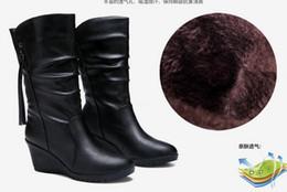 Wholesale Cow Leg - 2015 autumn winter High quality brand Genuine leather women snow boots wedges medium-leg winter boot woman shoes