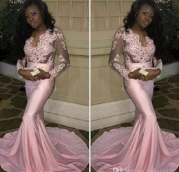 Wholesale Stretchy Long Dress - 2017 Couple Fashion Black Girls Sheer Long Sleeves Prom Dresses Modern Mermaid Appliqued Pink Evening Party Gowns Stretchy Train