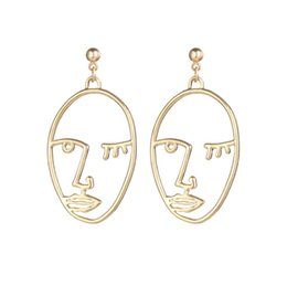 asian figures Promo Codes - Unique Hollow Human Face Contour Earrings for Women Punk Abstract Art Metal Figure Stud Earrings Creative Ear Jewelry