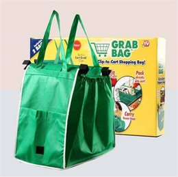 Wholesale Carry Set - Grab Bag Clip To Cart Set Of 2 Bags Non-woven Fabric Reusable Eco Foldable Shopping Bags Trolley Carrying Handle Expandable Sides