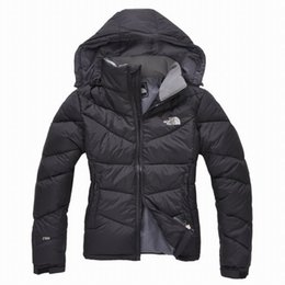 Wholesale Warmest Winter Parkas - top nortH High Quality New Winter women's Down puffer jacket Casual Brand Hoodies Down Parkas Warm Ski womens FACE Coats blue2